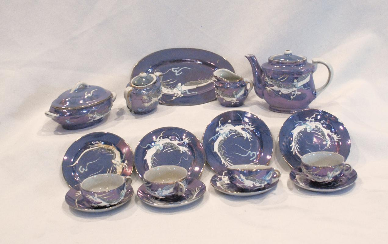 BLUE LUSTER DRAGONWARE CHILD'S TEA  20 pc SET MADE IN JAPAN