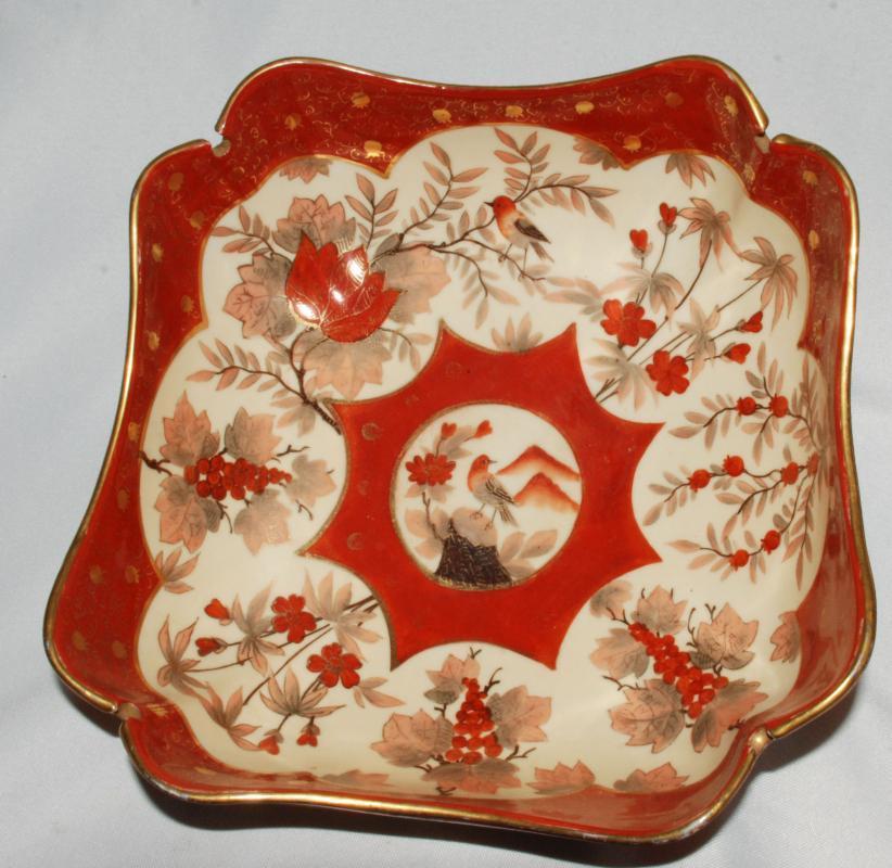 C. F. Boseck & Co Haida Austria  Porcelain  Lobed  Squared  Bowl Bohemian circa 1880 - 1918 with  Japanese Inspired Design