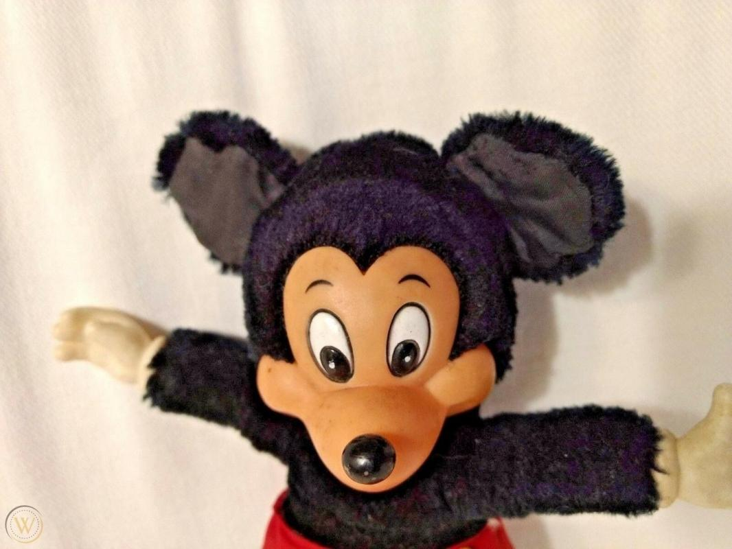 VINTAGE MICKEY MOUSE STUFFED PLUSH DOLL W/ RUBBER FACE HANDS FEET APPLAUSE  9