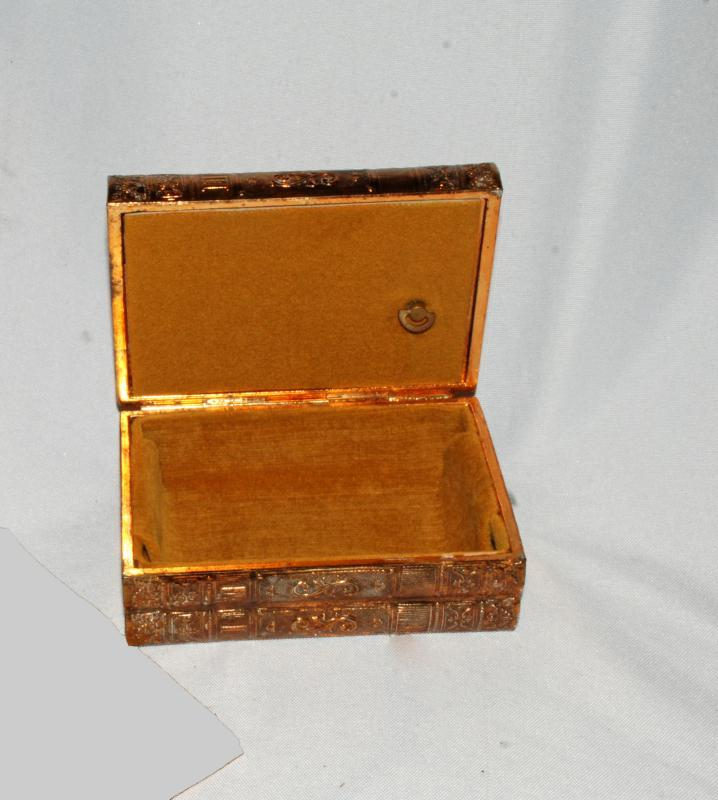 Sankyo Music Box Casket Shaped like Book Stack  Celluloid top with Raised Roses
