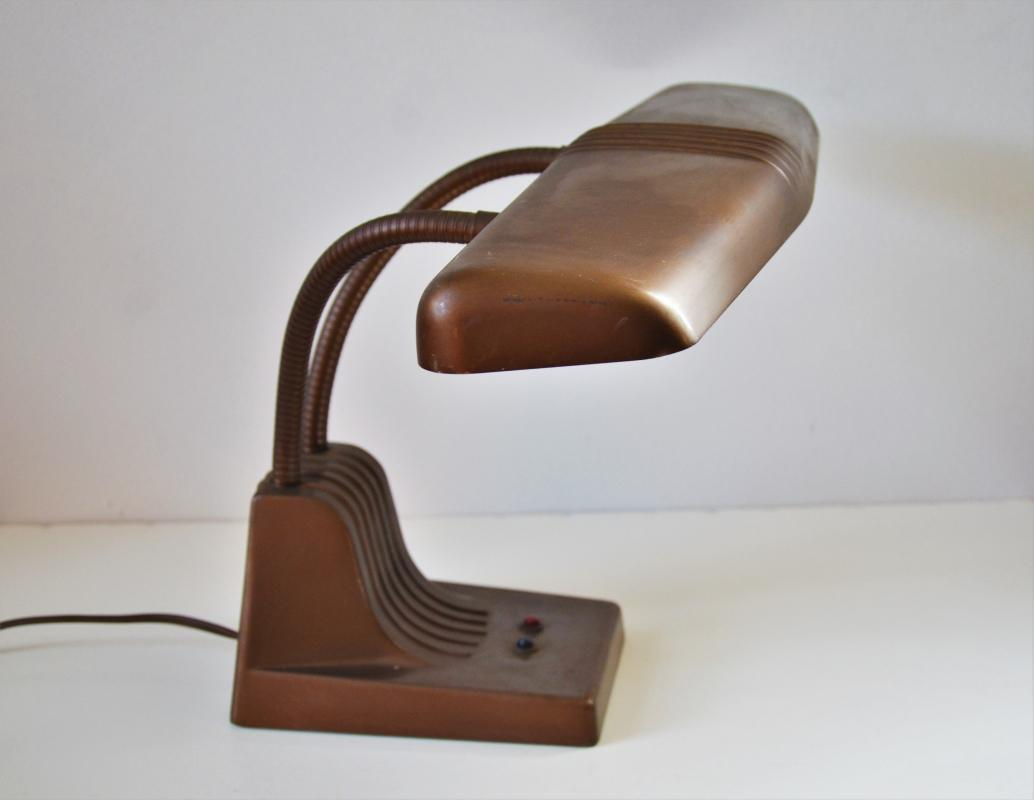 Vintage 1940s Industrial Dazor Model 1000 Double Goose neck Floating  Desk  Lamp