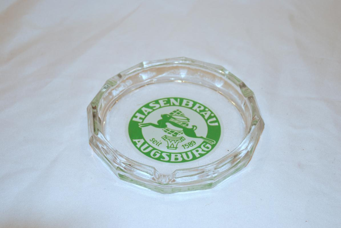 Vintage Brewery  Hasenbrau Augsburg Seit 1589 Large Glass Ashtray 6 3/4