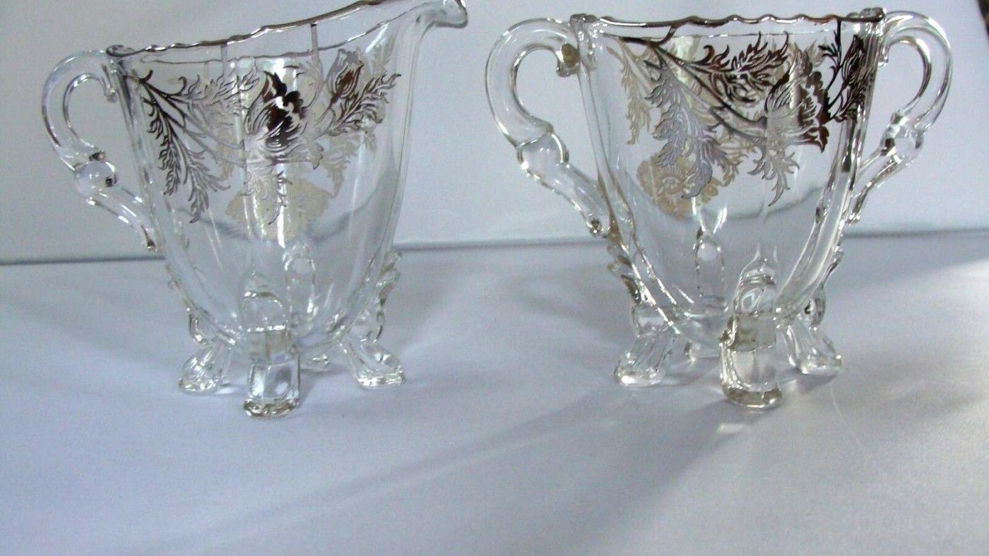 Poppy FLANDERS GLASS SILVER OVERLAY CAMBRIDGE CREAMER & SUGAR