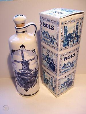 Bols Royal Holland Blue Delft, Ceramic Decanter, Liquor Bottle with Original Box