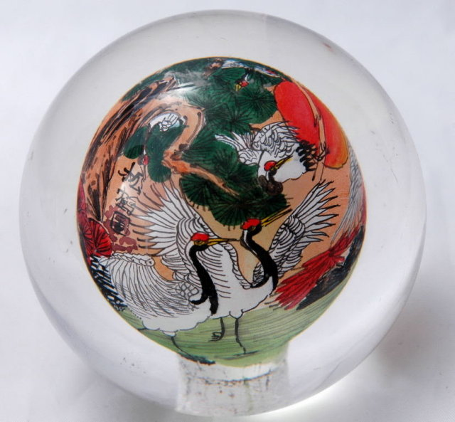 Reverse Painted Glass Sphere - Cranes, Chinese Art *PRICED REDUCED!*