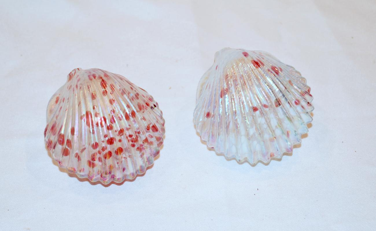 2 Iridescent Blown Glass Cockle Shells, White Pink , Handcrafted Studio Glass