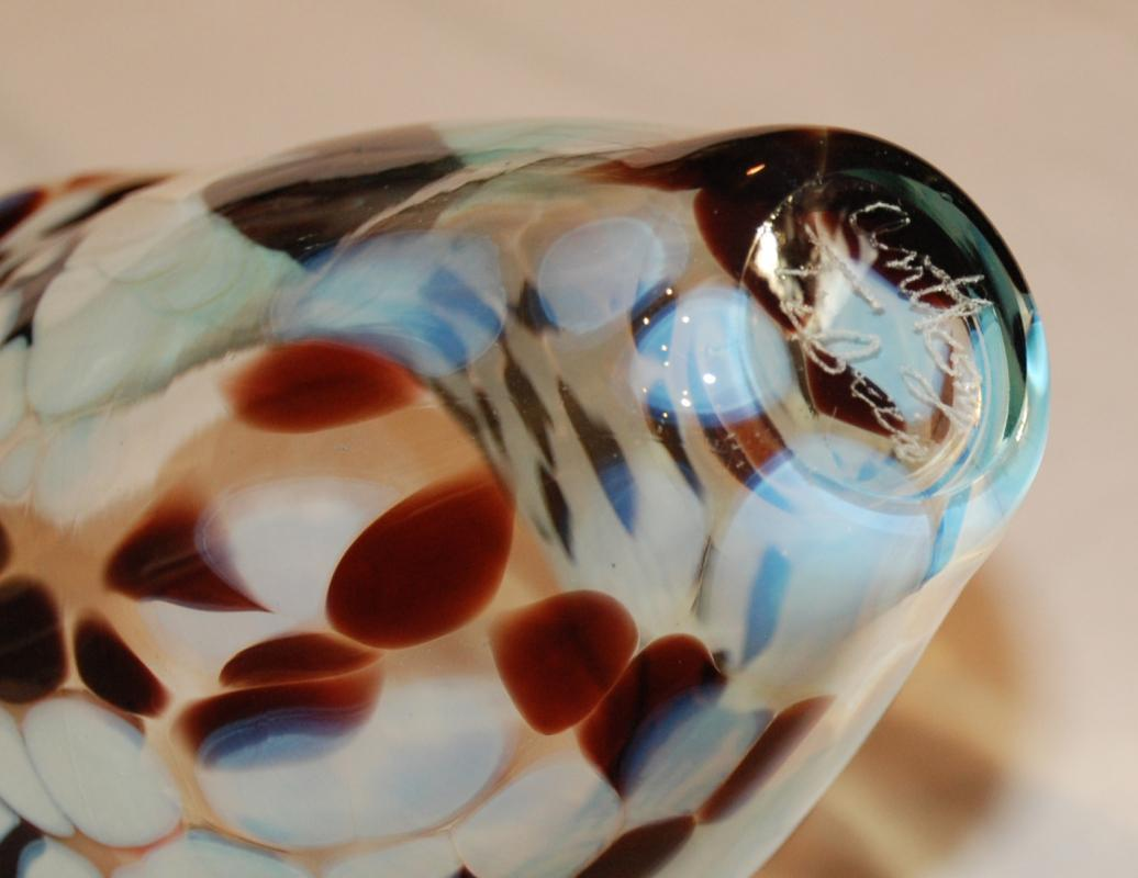 Signed Art Glass Vase , Moon Glow  White & Maroon Swirl Clouds , Splotches.