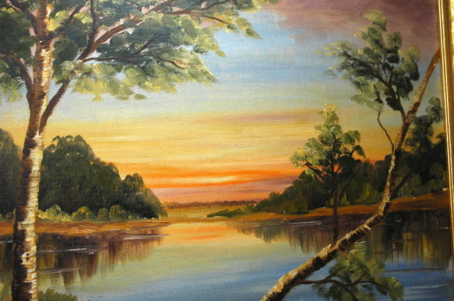 Sunset at Lake Oil on Board  -V. Bjork