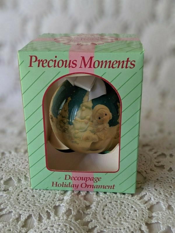 Enesco Precious Moments Collection Decoupage Holiday Ornament 1994