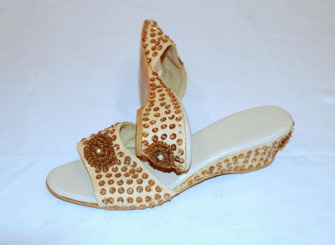 Vintage Beaded & Sequin Slip on Wedge Mules, Sandal Boudoir Shoes, Slippers Size 4.5