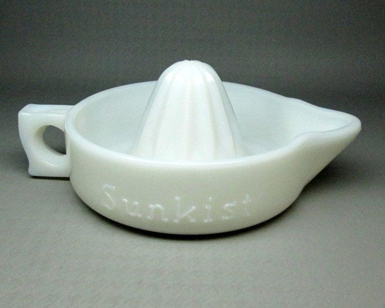 Sunkist reamer , white  milk glass  . Patent number 68764