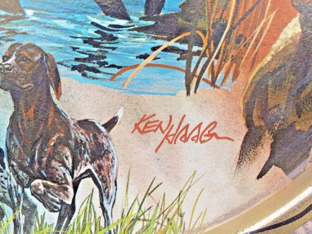 Ken Haag Metal Serving Tray Hunting Sporting Dogs Lab Retriever Spaniel Vtg 60's