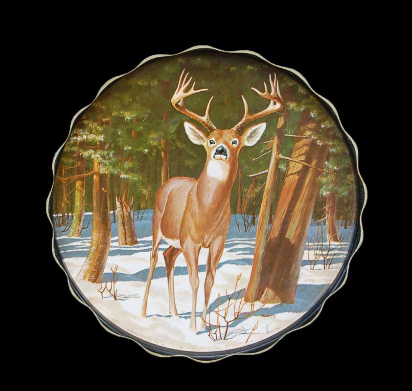 "White Tailed Deer Metal Tray 11"" Wide James L Artig 1966 Metal Tray"
