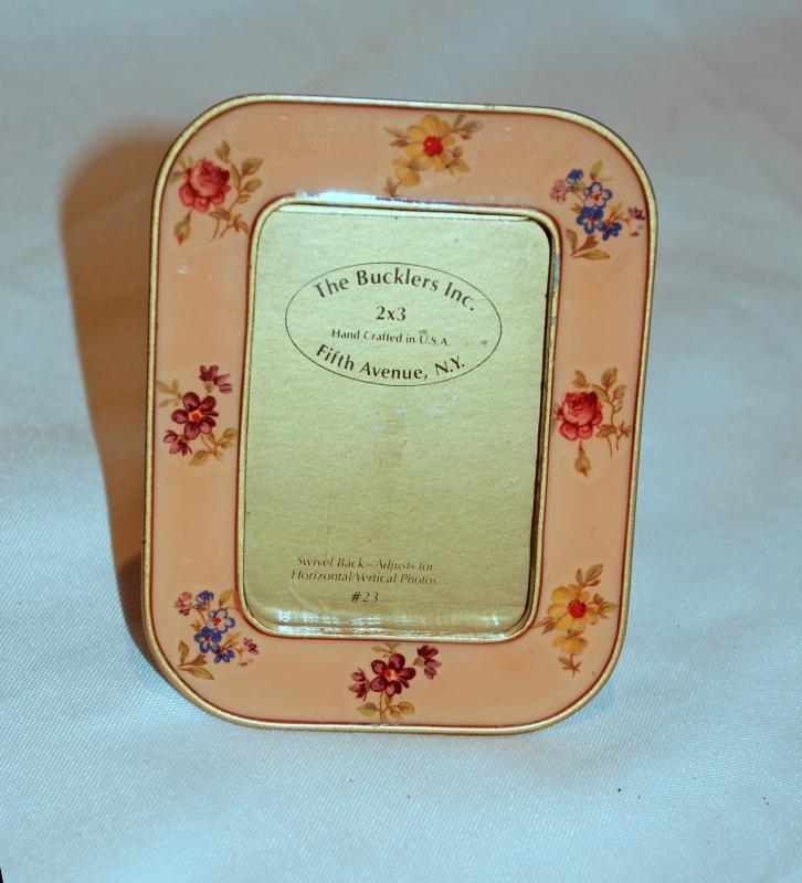 The Bucklers Inc. Fifth Ave N.Y  Picture Frame Hand Crafted Pink Enamel Flowers