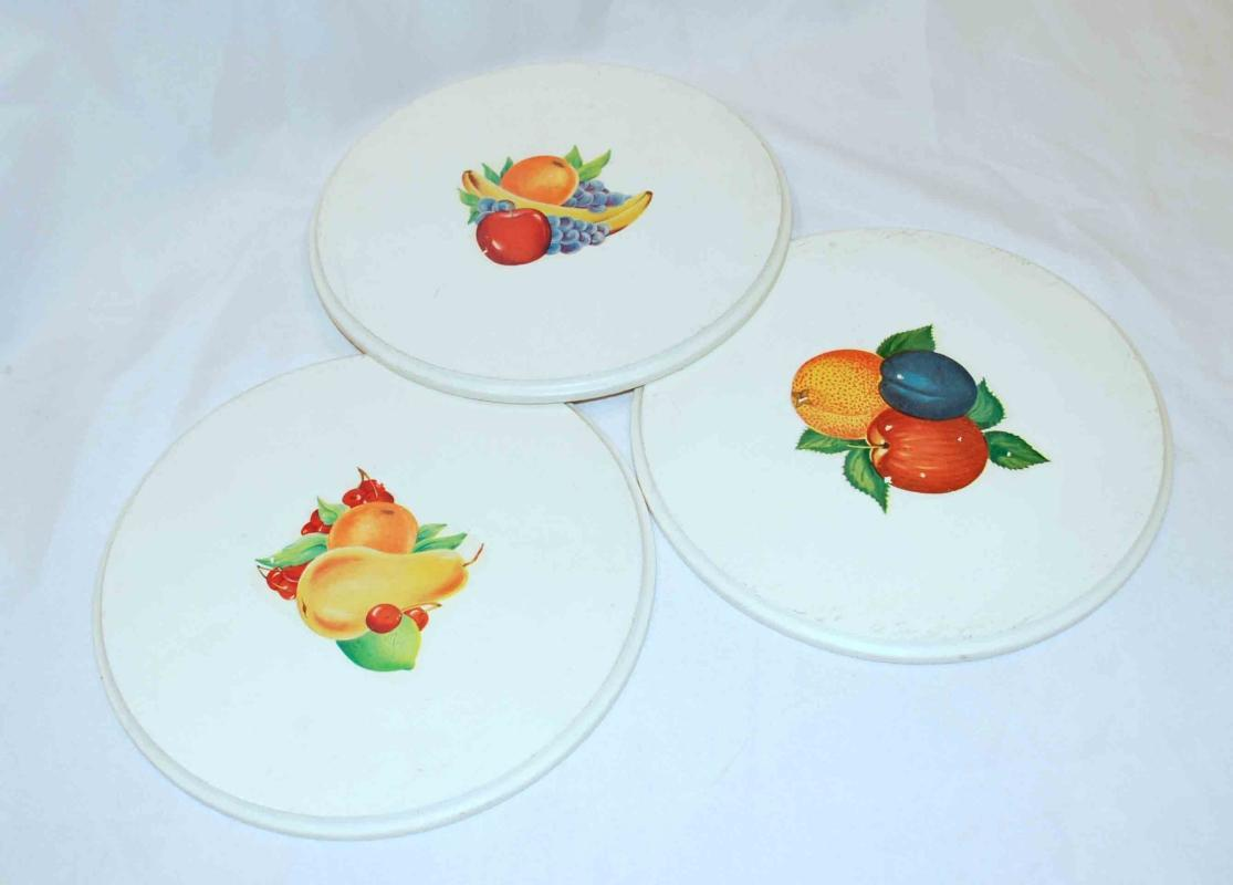 3 Painted Wood Trivets with Decoupage Fruit Decorations.  Old country kitchen