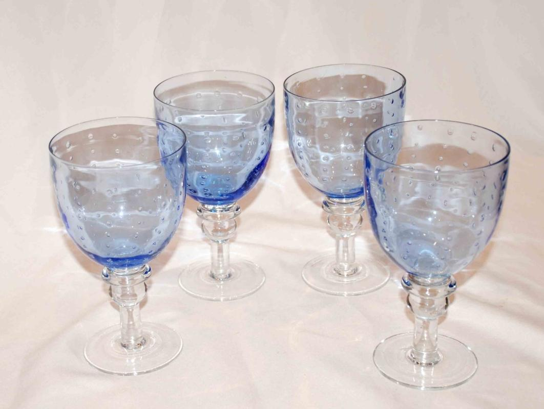 4 Water Goblets, Pavillion Blue Clear by ZRIKE Controlled Bubble Pattern Blue with Clear Stem