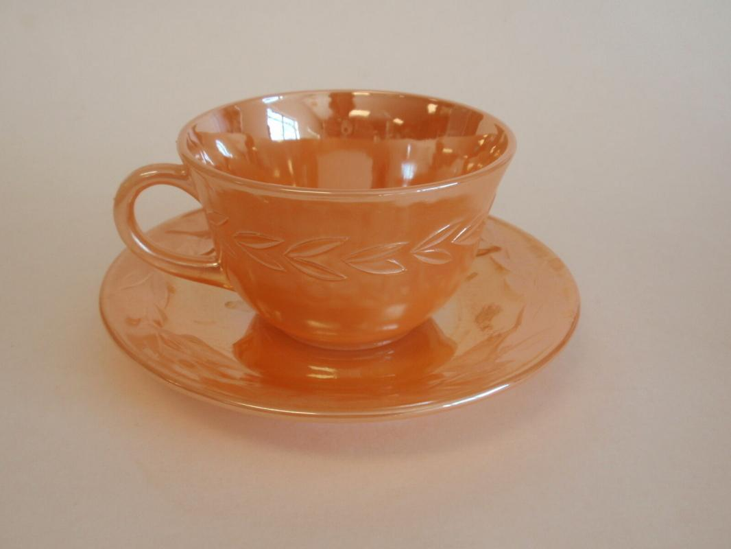Vintage Fire King Anchor Hocking Peach Luster Cup and Saucer Laurel Leaf
