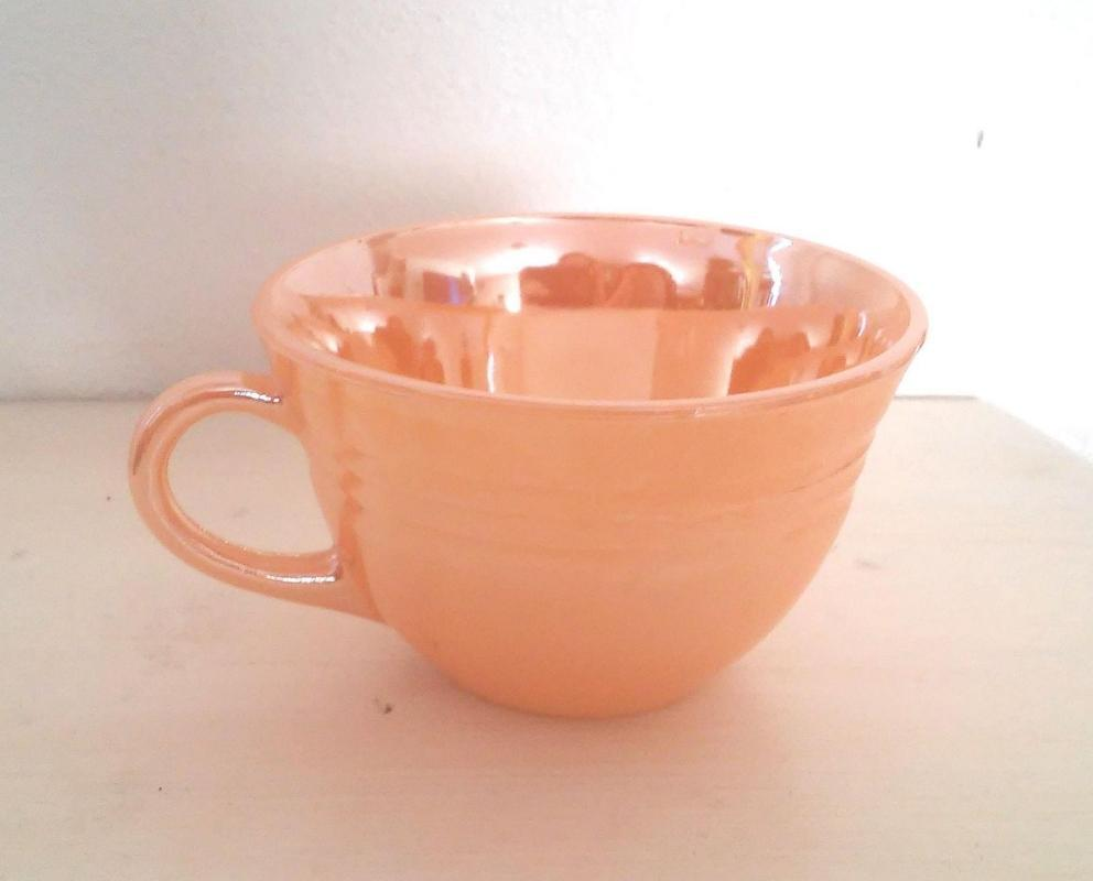 Fire King-Peach Luster 3 Bands Ribbed Coffee or Tea  Cup  Mug