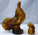 Amber Rooster Bottle Decanter Jeffery Snyder Pat Pend.