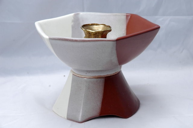 Mid Century Sequoia Ware Pottery Candle Holder, signed & numbered