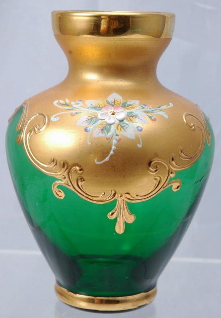 Moser  Emerald Glass Vase with Gold  Enameling &  Dainty Flowers