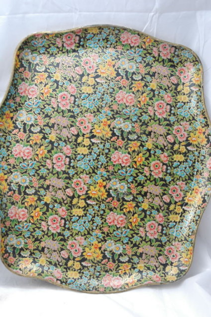 Chintz Papier Mache Trays Pair (2) Japan,  Highmount Quality   * PRICE REDUCED !*