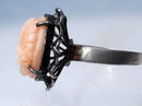 Carved Angel Skin Coral  & Sterling Ring  Victorian   Setting