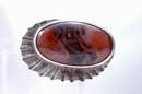 Large Moss  Agate & Sterling Pin Brooch