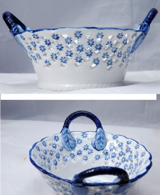 Delft Porcelain Pierced Work Bowl