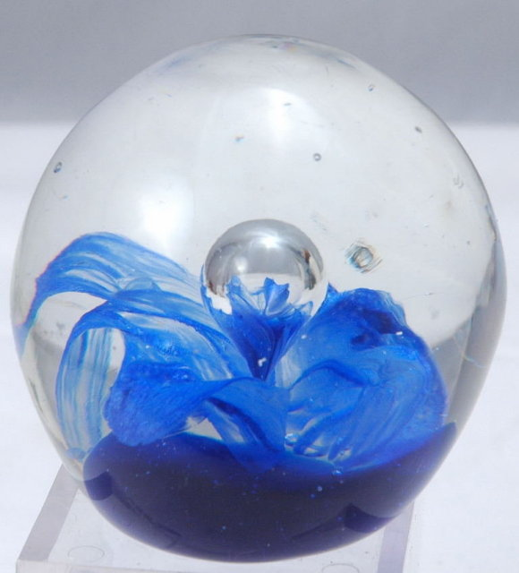 Glass Paperweight Blue Flower with Bubble