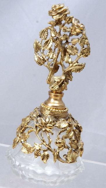 Dresser Perfume Bottle with Metal Florals & Vines & Stopper