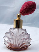 Art Deco Fan Shell  Perfume Lavender  Glass   Atomizer Bottle *REDUCED PRICE!*