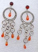 Carnelian & Sterling Silver Lori Bonn  Chandelier  Dangle Earrings  * PRICE REDUCED !*