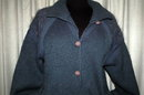 Vintage Hand Knit Wool Cardigan Sweater Jacket , Blue, big buttons and curly knit