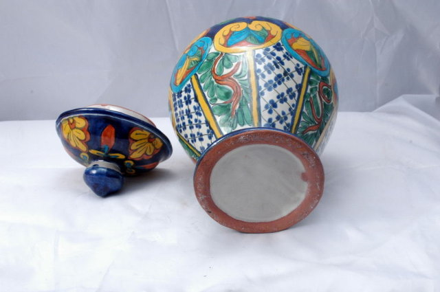 Mexican Talavera  Pottery Lidded Urn  Old Mexico