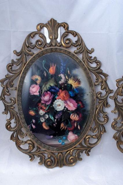 Large Ornate Italian Cast Metal Framed Floral Lithograph Print Vintage 40s 50s