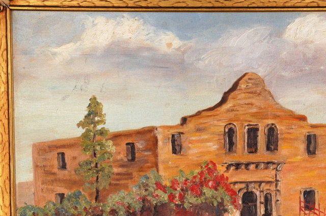 New Mexico Adobe Church , Oil Painting Signed  M. Ericson 1958