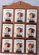 Rooster Spice Jars in Wood Rack 1950's Freoroberts Company, San Francisco