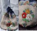 Beaded Drawstring Purse Bag -antique flowers & crochet