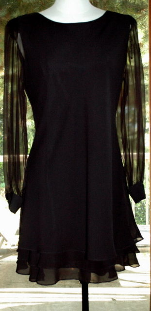Hampton Nites   Cocktial Party  Dress Black Sheer Chiffon  with lining size 10