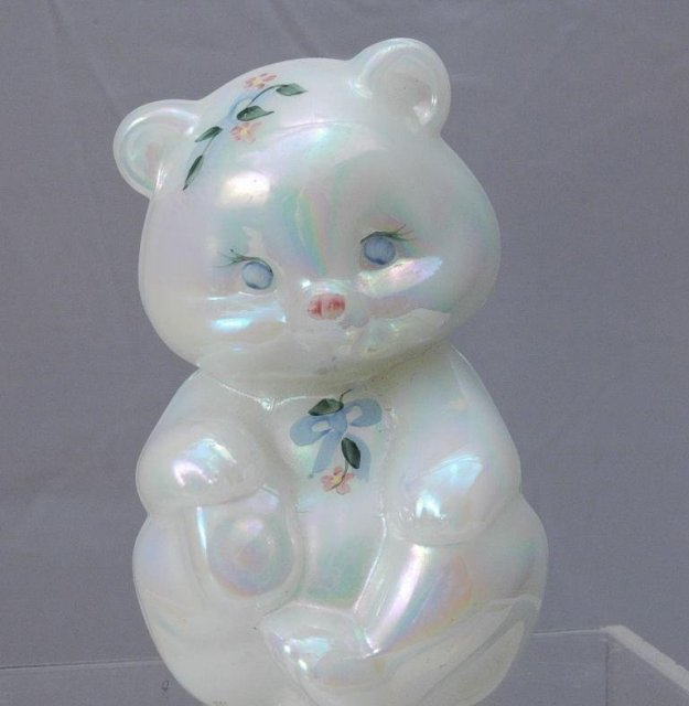 Fenton Glass Bear Opalescent Hand painted