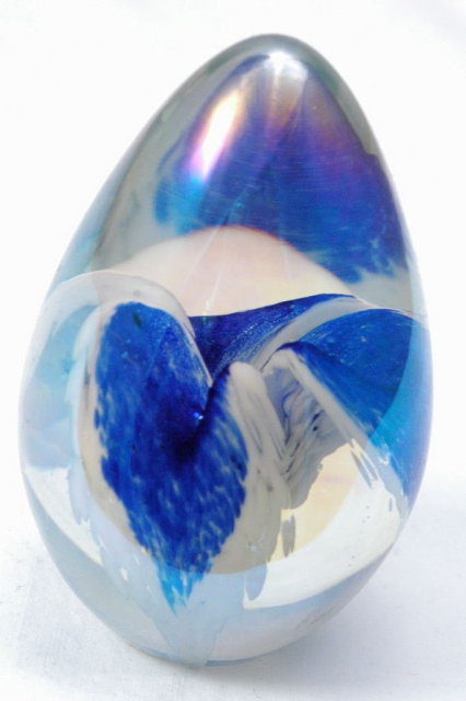 Hand blown Art Glass Paperweight Egg  Beautiful Blue  White Clear  Oval