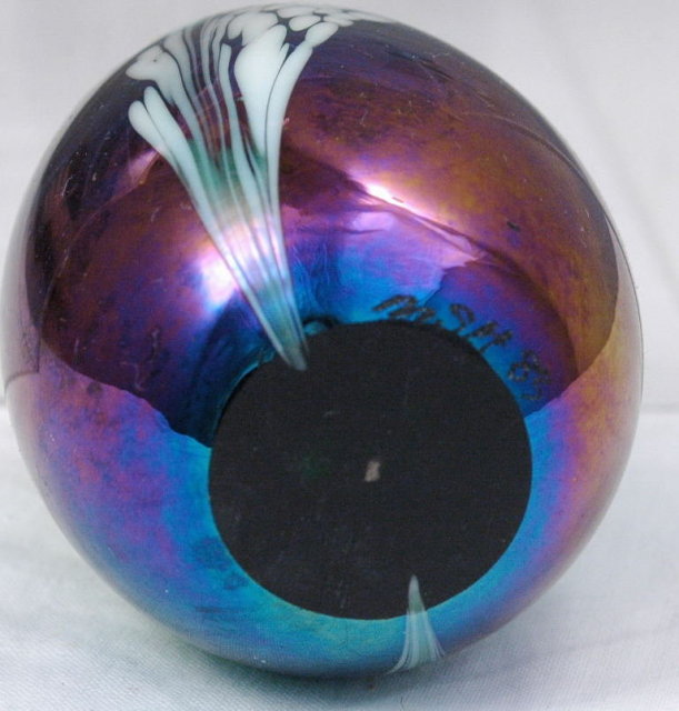 Iridized Glass Paperweight Mount St Helen's Glass Dated 83'