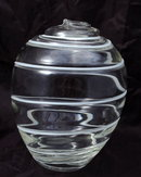 Hand Blown  Studio Art Glass Vase with White Swirl Lines
