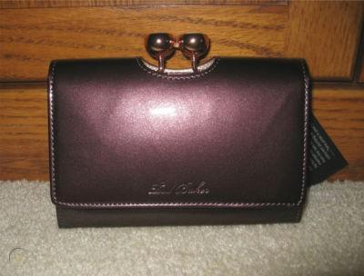 TED BAKER BOBBLE PURPLE PATENT FRENCH WALLET