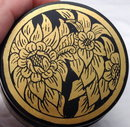 Hand Painted Gold on Black Lacquer  Round Trinket Box Container