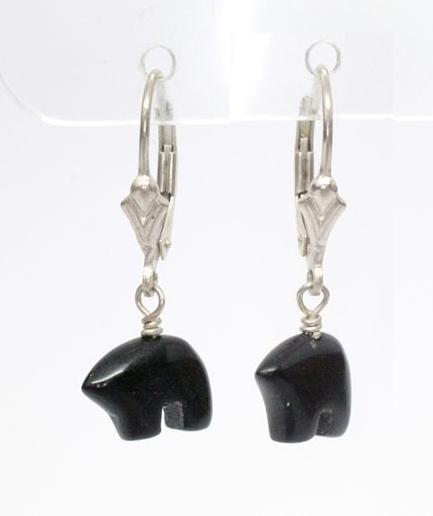 Native American Black Onyx Spirit Bear Dangle Sterling Silver  Leaver Back  Earrings