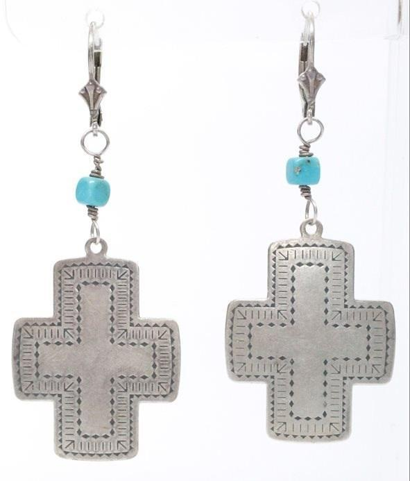 S.W. Native American Sterling & Turquoise Etched Cross  Leaver backEarrings