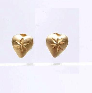 14K Yellow Gold Heart Post Earrings