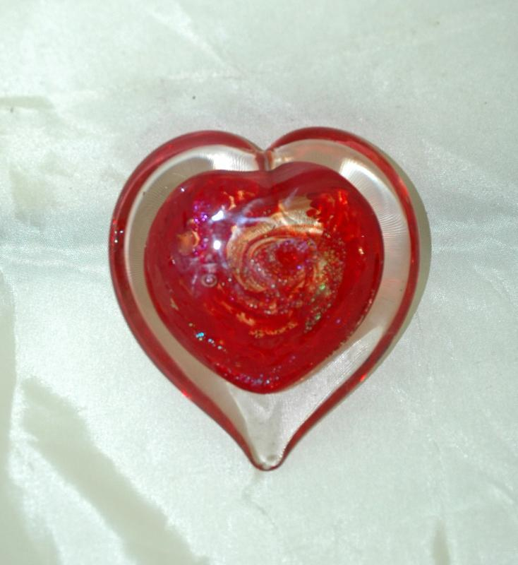 Dichroic  Blown Glass Heart  Red Splashed specks cased in cear   Glass Heart Paperweight Signed